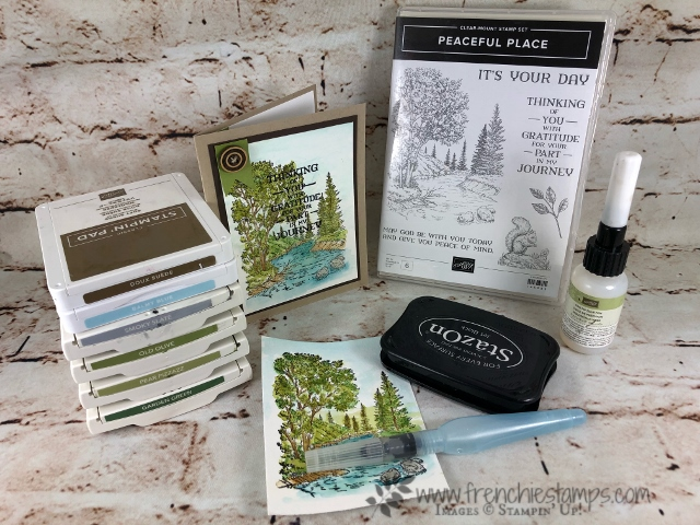 Peaceful Place Watercolor, Fine Tip Glue for water effect, Stampin'Up!, Frenchiestamps,