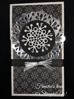 Frenchie's Team, Gift Card Holder, Stampin'Up!, Merry Music Designer paper,