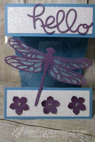 Dragonfly Dream, Hello You Thinlits, Stampin'Up! Heat & Stick on window sheet, Frenchiestamps