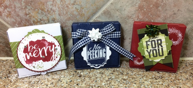 Stampin'Up! Mini Pizza Box, Christmas Box, Easy way to color Pizza box,