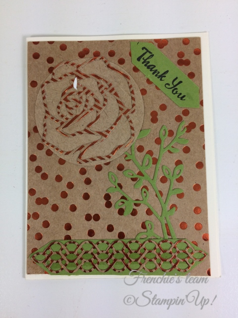 Frenchie' Team, Rose Garden Thinlits, Stampin'Up!, Foil Frenzy Designer paper,