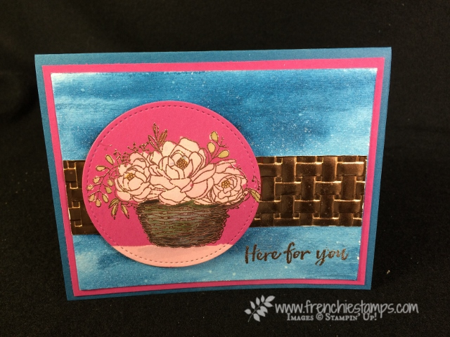 Basket Weave Folder, Blossoming Basket, Mix media technique, Frenchiestamps, Stampin'Up!,