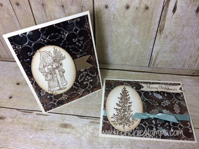 Lovely As A Tree, Father Christmas, Age Copper, Tarnish Copper, Holly Embossing Folder, Stampin'Up!. Frenchiestamps