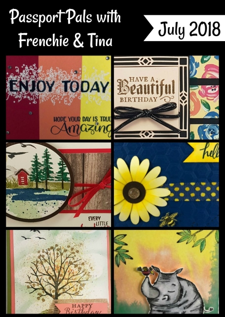 July Passport, Animal Outing, Sheltering Tree, Daisy Delight, Big Wishes, Watercolor Front, Frenchie Stamps, Stampin'Up!,