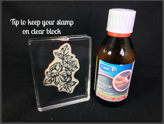Surgical Spirit, Keep Stamp on Clear Block, Tip so stamp will not drop from clear block,