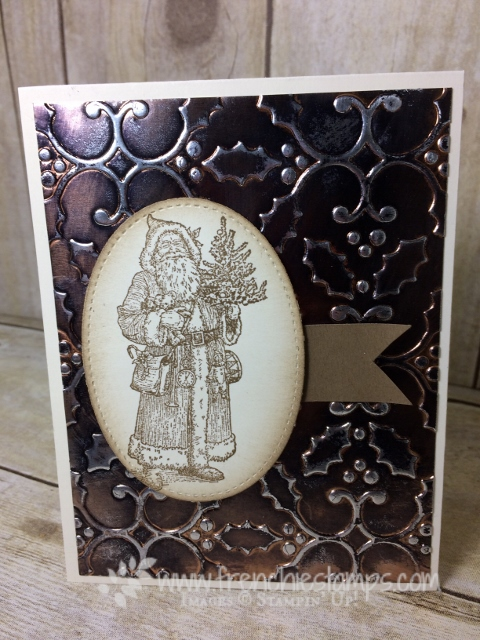Father Christmas, Age Copper, Tarnish Copper, Holly Embossing Folder, Stampin'Up!. Frenchiestamps