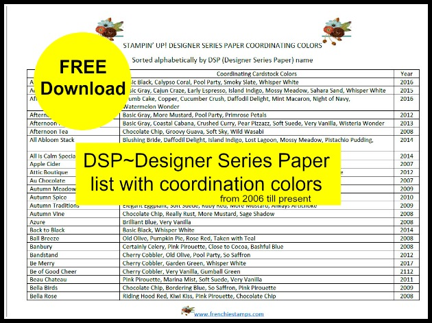 Free Download Stampin'Up! Designer paper List with coordination color