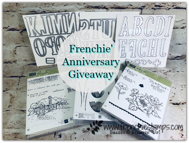 Large Letter  Die, Giveaway, Frenchie' Stamps, Stampin'Up!, Cozy Cottage, tranquil Tulip, Birthday Blooms,