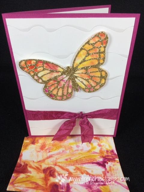 Shaving Cream Technique, Stampin'Up!, Berry Burst, Crushed Curry, Tangerine Tango,  Bold Butterfly Framelits, butterflies thinlits, Ruffle Embossing Folder,