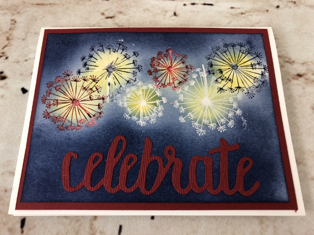 Dandelion Wishes, emboss Resit in all colors, Celebrate You thinlits, 4th of July Cards, Stampin'Up!