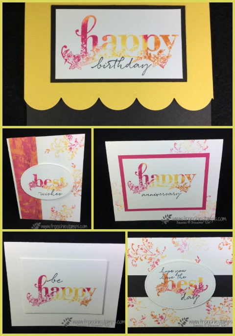Happy Wishes, Stampin'Up! Sale a Bration, Painted with Love Designer paper, Touch of Textures, Baby Wipe technique, Frenchiestamps,