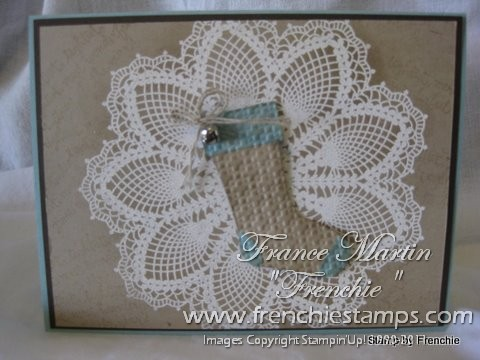Hello Doily With Stocking Punch Frenchie Stamps