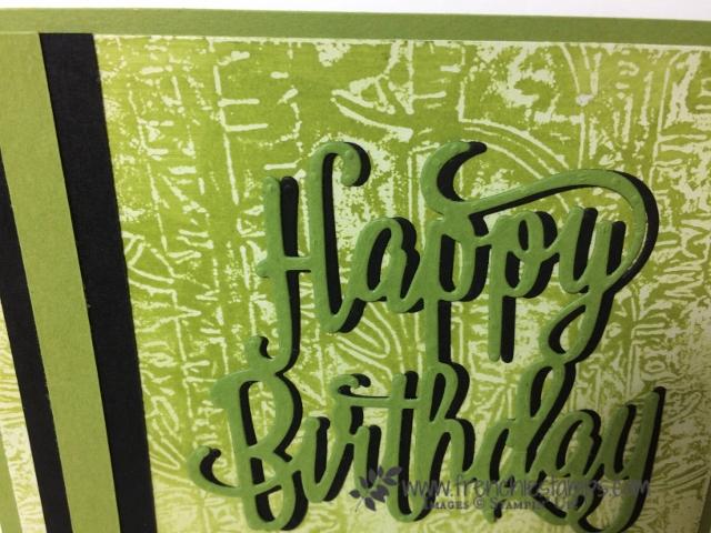 Woodland Embossing Folder, Happy Birthday Thinlits, Stampin'Up!, Wax Resist on Glossy