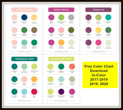 Stampin'Up! Color Coch Download, In-Color 2017-2019 2028-2020 Chart Free download, frenchiestamps,