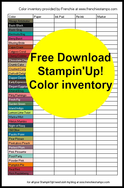 2017-19 In Color combination Free chart inventories