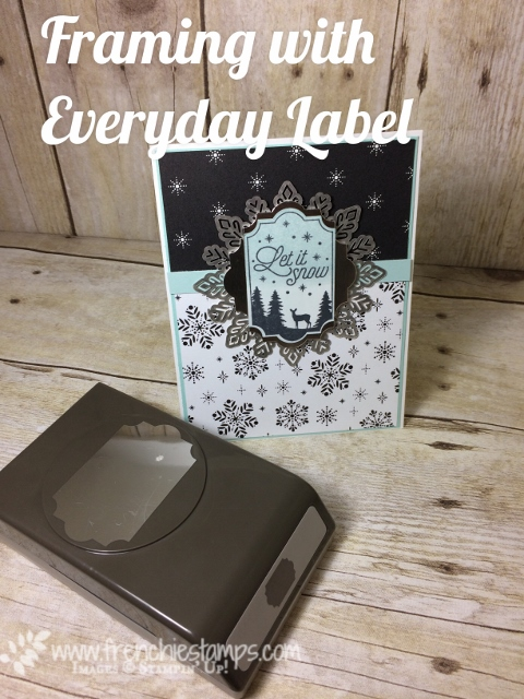 Merry little Christmas designer paper, Everyday Label Punch, Foil Snowflakes, Merry Little Label,  Frame with Everyday Label punch