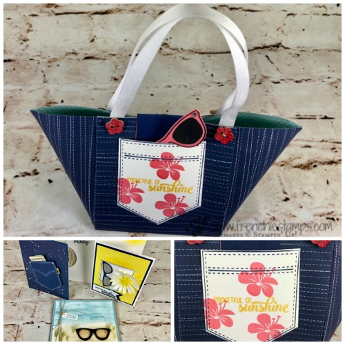 Paper Beach tote, DYI Paper Tote, Sun glass, Daisy Punch, Pocket of Sunshine, Stampin'Up!,