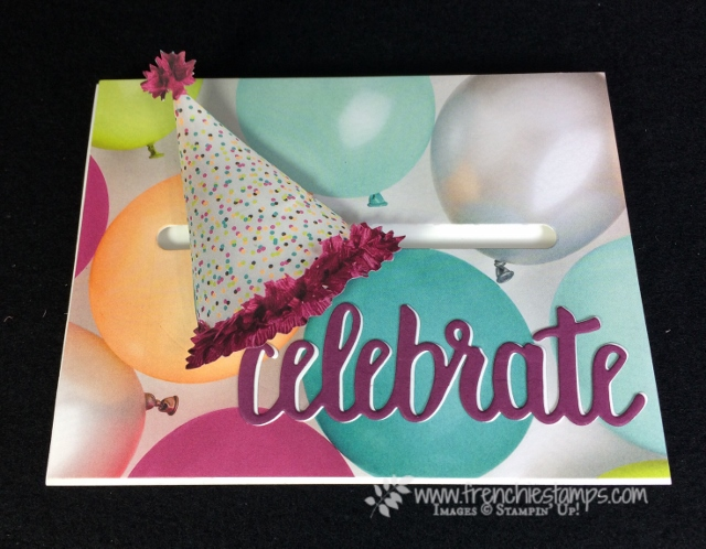 Spinner Card, Sliding Door Framelits Die, Picture Perfect Party Designer Paper,  Celebrate You Thinlits, Stampin'Up!, Frenchie Stamps