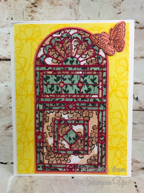 2018-2020 Stampin'Up! in-Colors, Frenchie Team challenge, Stain Glass Thinlits