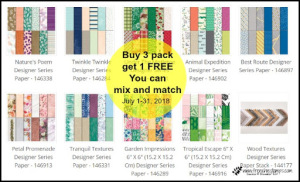 Stampin'Up! Designer Paper buy 3 get 1 free, frenciestamps.com