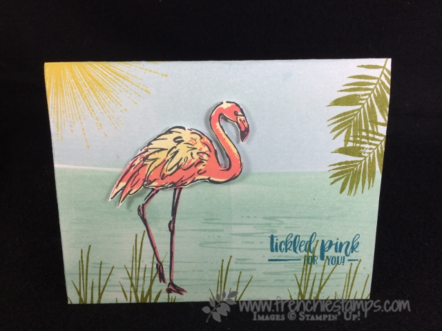 Fabulous Flamingo, Wherever You go, Sponging scenery, Stampin'Up!, Frenchie Stamps