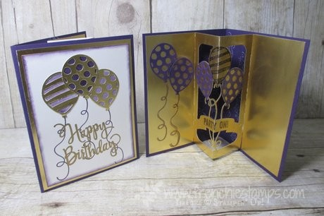 Balloon Pop-Up Thinlits with Glod Foil For Lizzie