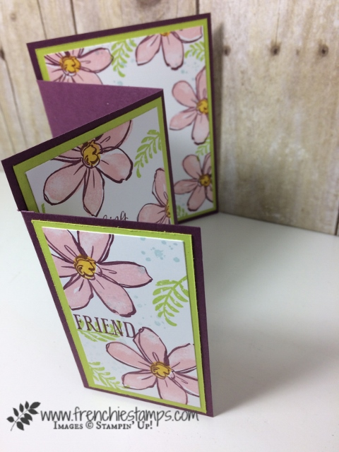 4 panels card, Garden in Blooms, Awesomely Artistic, Beautiful Bouquet, Frenchiestamps, Stampin'Up!