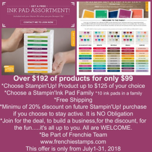 Stampin Up! Free Shipping, 10 Free Ink Pads, Join Frenchiestamps,