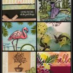 Customer Appreciation Passport Pals, Frenchie stamps, Peaceful Place, beautiful You, Tropical chic, Fabulous flamingo, All teh good Things, Stampin