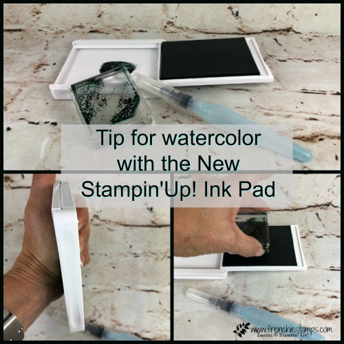 Tip for watercolor with Stampin'Up! ink pad, Tip to watercolor using a clear block, Frenchie Stamps,