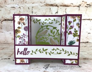 How to make a bridge card with Stampin'Up! product. Share What You Love Designer Paper, Botanical Tags Thinlits. How to video with Frenchie.