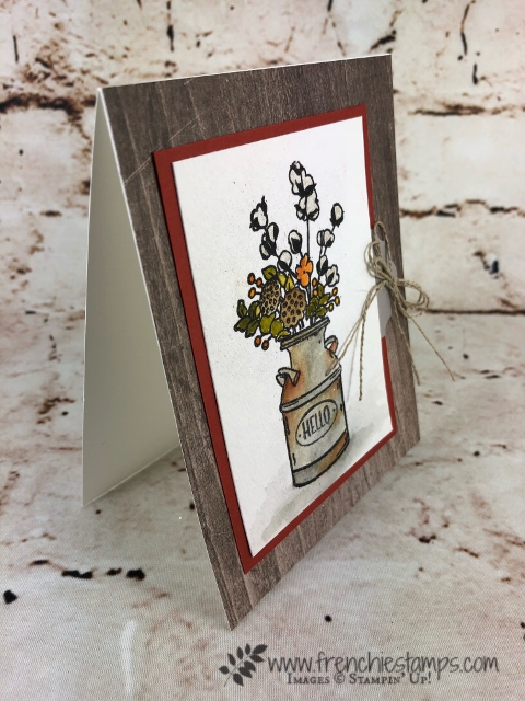 How to watercolor the milk can from the stamp set Country Home. Great fall card or could be for many occasion. All product are from Stampin'Up! and can be purchase at frenchiestamps.com