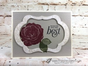 How to nest the Stitched Seasons Framelits to make 3 card with only one pass through the big shot. Stamp set of choice is Healing Hugs. All product are from Stampin'Up! and can be purchase at frenchiestamps.com