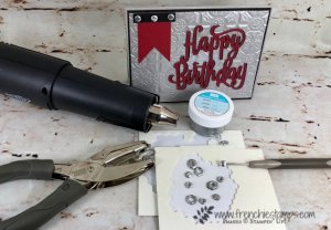 How to make your own masculine embellishment. Simple way to make bolt, nuts and screw with dimentionals and embossing powder. I have all detail and how to video. All product are by Stampin'Up! and sold at frenchiestamps.com