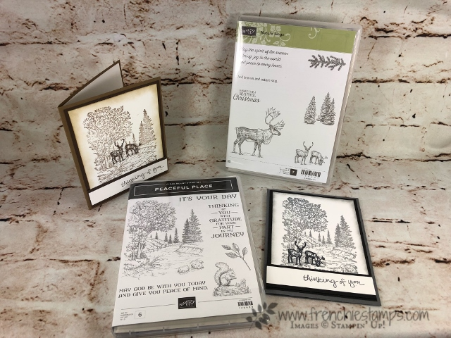Monochromatic, Peaceful Place, Nature Sings, Masculine Card, Frenchiestamps, Stampin'Up!,