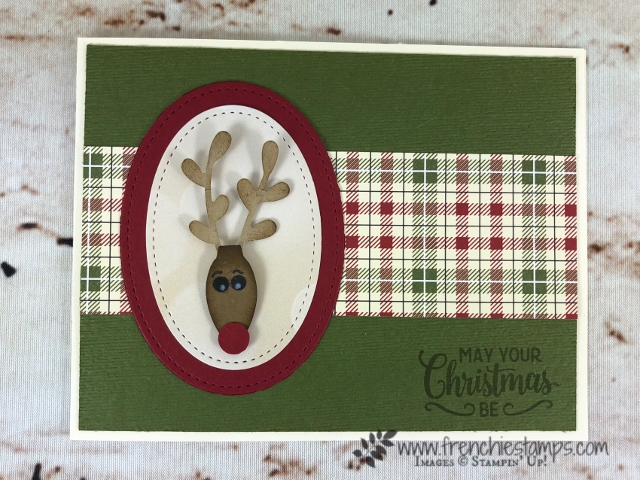 How to make a reindeer punch are with the Christmas Bulb, Sprig and Cookie cutter punch. All product by stampin'Up! and can be purchase at frenchiestamps.com