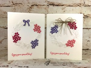 How to use the Seasonal Wreath embossing folder for many occasion. The Bouquet Bunch Framelits is a great combination with this folder. How to video and detail at frenciestamps.com. All product are by Stampin'Up!.