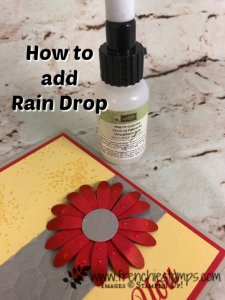 How to make rain drop on your lowers. Also would work for dew on flowers. Very simple with Stampin'Up! find tip glue. I used the Daisy Punch, Daisy Delight and Artisan Textures stamp sets. Need Stampin'Up! product you can shop 24/7 at frenchiestamps.com