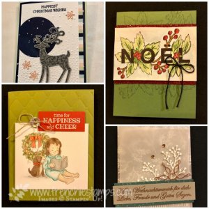Come visit my blog at frenchiestamps.com for many Stampin'Up! 2018 Holiday Catalog sample. Happiness and Cheer, Dashing Deer, Joy & Noel.