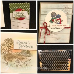 Come visit my blog at frenchiestamps.com for many Stampin'Up! 2018 Holiday Catalog sample. Spirited Snowman, Cambridge Carols, Farmhouse Christmas, Chicken Wire Elements.
