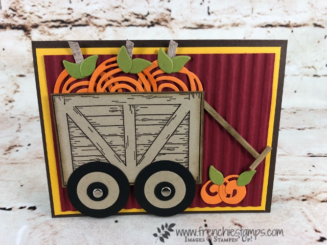 Learn how to use the Sliding Door Framelits to make a wagon also using the Swirly Scribbles for the pumpkins. All supplies are by Stampin'Up! and available to purchase at frenciestamps.com