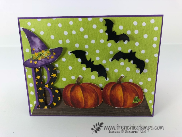 How to make a Boo card with Toil & Trouble designer paper. Not stamping involve in t his card all paper. All product are by Stampin'Up! and can be purchase at frenchiestamps.com