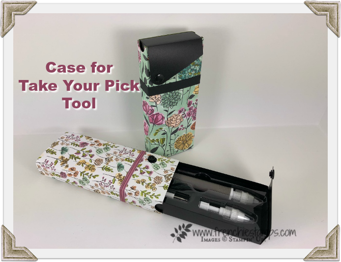 How to alternate a pencil case for a perfect fit for Take Your Pick took by Stampin'Up!.Pick Your Pick tool can be purchase at frenciestamps.com