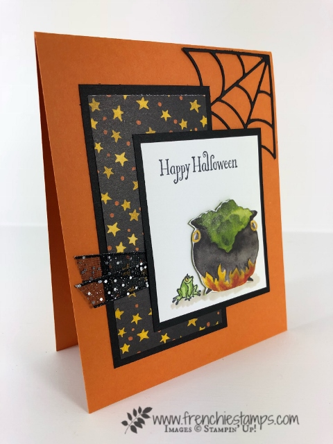 Halloween card from leader swaps. Designer paper Toil and Trouble Designer Paper, Stamp set Cauldron Bubbles. All product by Stampin'Up! and can be purchase at frenchiestamps.com