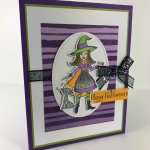 Halloween card from leader swaps. Designer paper Toil and Trouble Designer Paper, Stamp set Cauldron Bubbles,. All product by Stampin