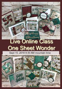 One sheet wonder live class. I will share one pattern and share how to make it with 3 different print. All product is by Stampin'Up! and can be purchase at frenchiestamps.com