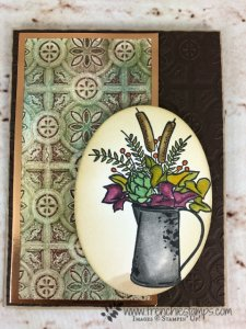 How to make the Patina Technique onto card stock. Very vintage look and amazing look. Stamp set Country Home Home. All supplies are from Stampin'Up! and can be purchase at frenchiestamps.com