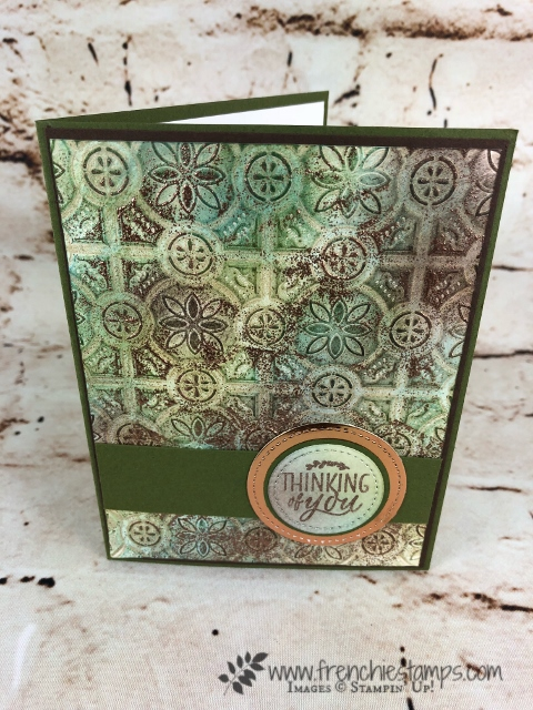 How to make the Patina Technique onto card stock. Very vintage look and amazing look. All supplies are from Stampin'Up! and can be purchase at frenchiestamps.com
