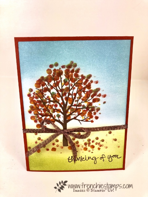 Learn how to do the Q-Tip technique on greeting cards. Stamp set of choice is the Sheltering tree by Stampin'Up! can be purchase at frenchiestamps.com.