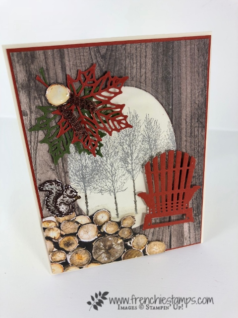 All about Fall Cards. Colorful Seasons, Seasonal Layers, Winter Woods. Wood Texture Designer paper. All product are by Stampin'Up! and can be purchase at frenchiestamps.com How to video